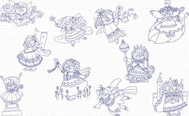 Fairies & Princess embroidery designs