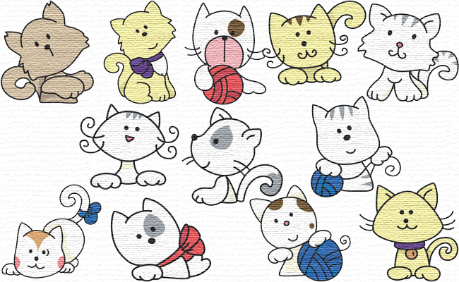 Kitties embroidery designs