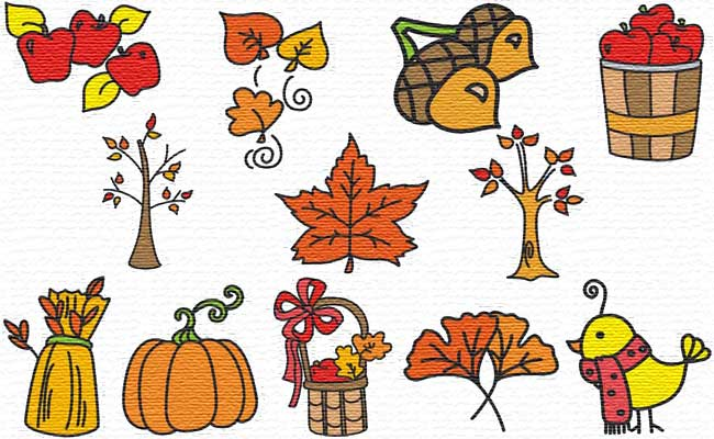Fall Time embroidery designs