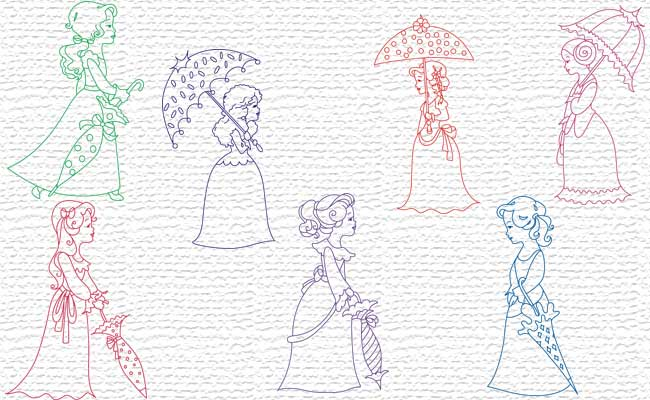Umbrellas embroidery designs