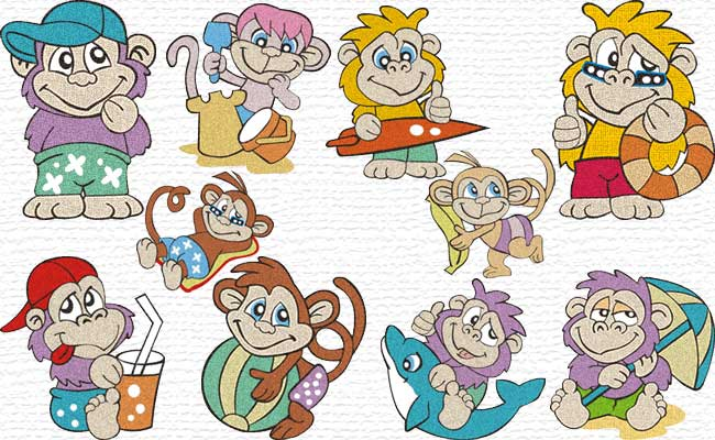 Beach Monkeys embroidery designs