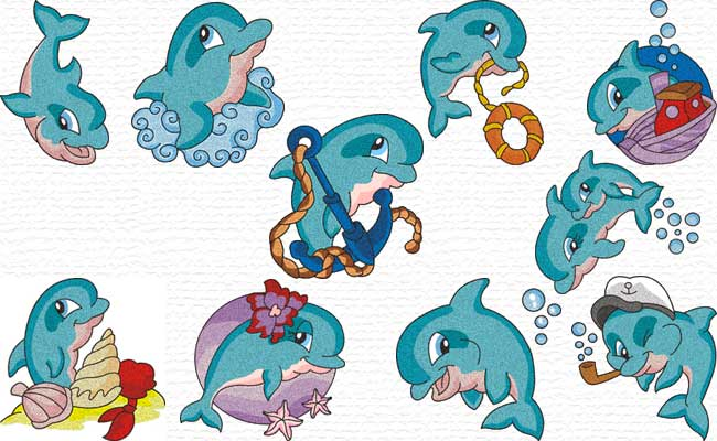 Cute Dolphins embroidery designs