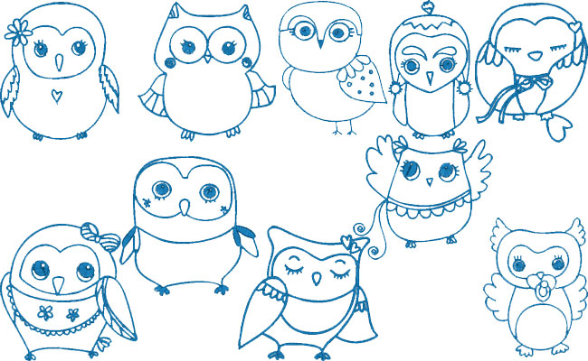 Cute Owls embroidery designs