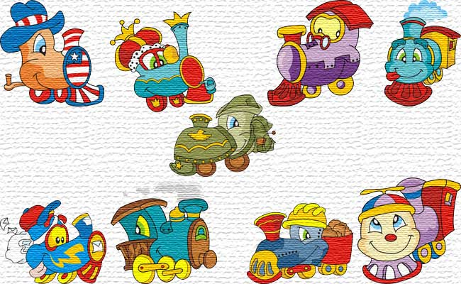 Living Trains embroidery designs