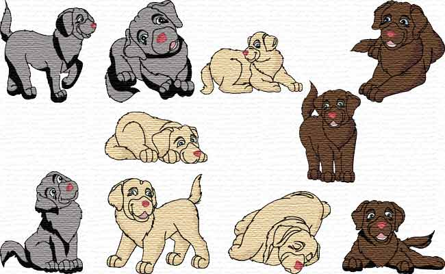 Cute Labradors embroidery designs