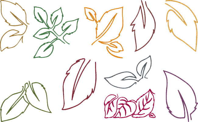 Leaves embroidery designs