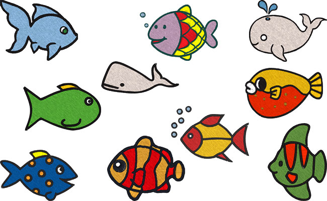 Sea Friends embroidery designs
