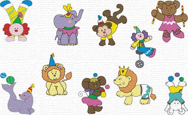 Circus embroidery designs