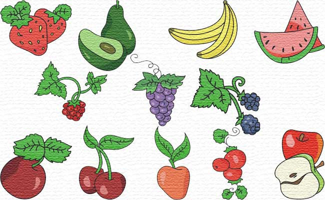 Fruits embroidery designs