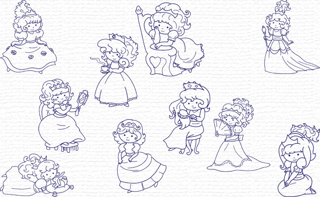 Bluework Little Princess embroidery designs