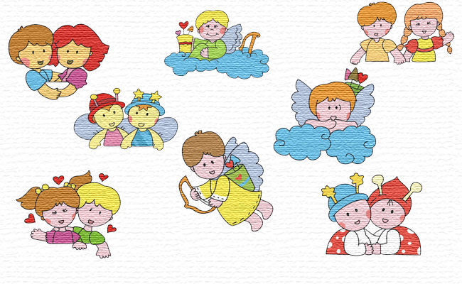 Friends embroidery designs