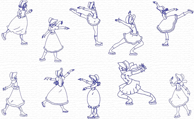 Ice Skating Sunbonnets embroidery designs