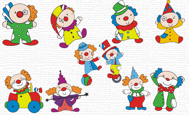 Clowns embroidery designs