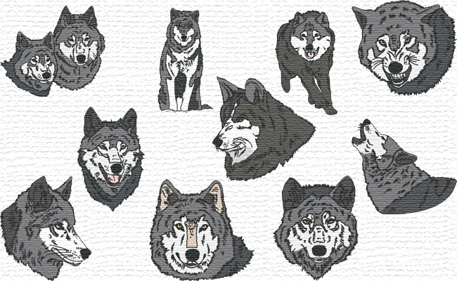 Realistic Wolves embroidery designs