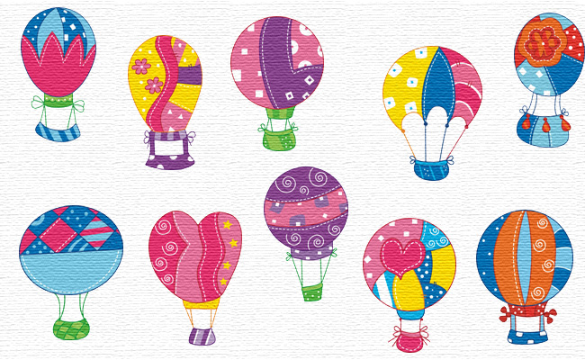 Air Balloons embroidery designs