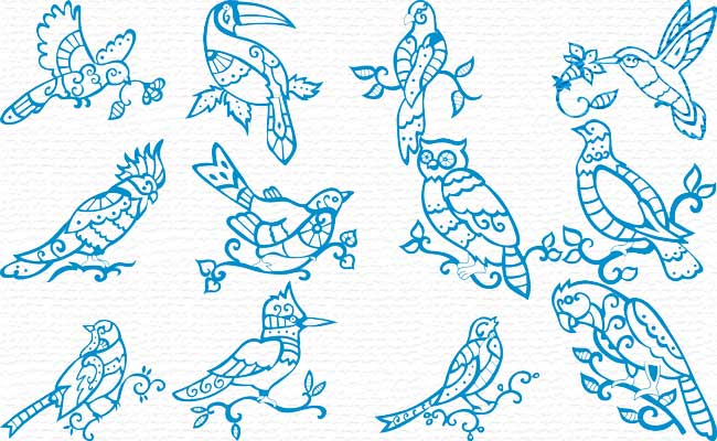 Bluework Birds embroidery designs
