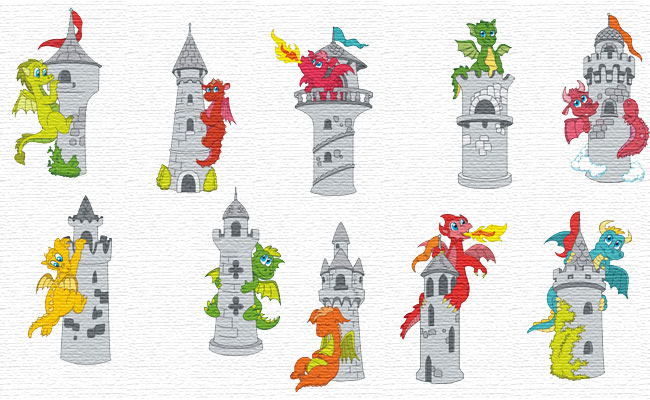 The Dragon Tower embroidery designs