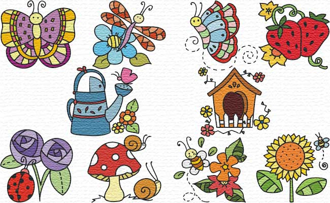 in the Garden embroidery designs