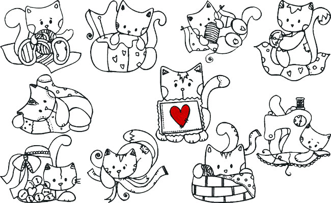 Sewing Kitty embroidery designs
