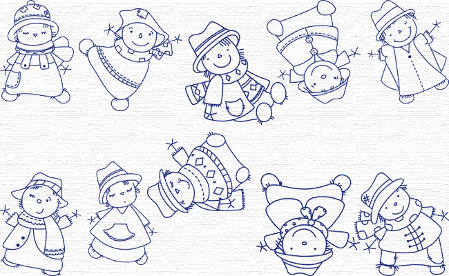 Scarecrows embroidery designs