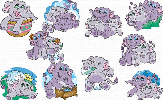 Little Elephants embroidery designs