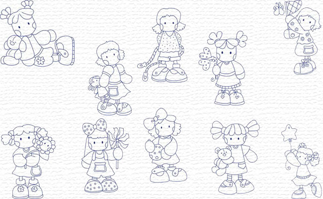 Bluework Girls embroidery designs