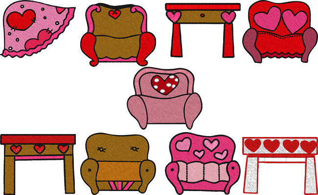 Valentine embroidery designs