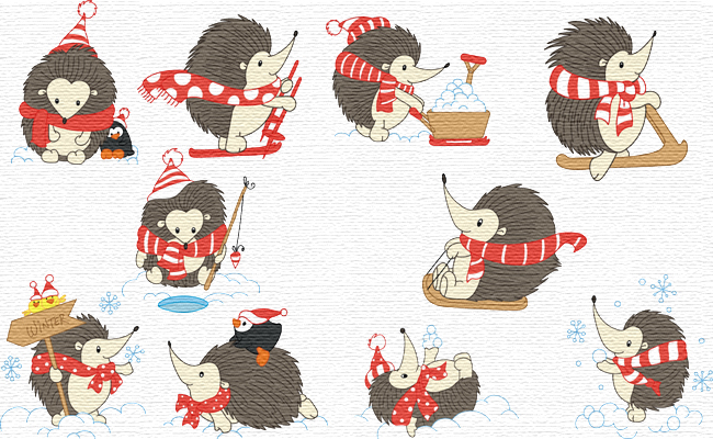 Winter Hedgehogs embroidery designs