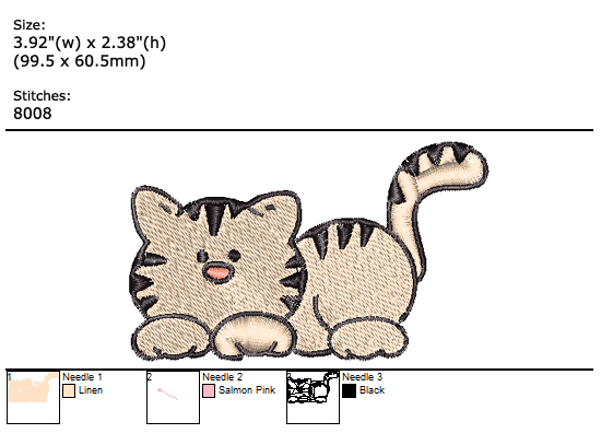 Kitty custom embroidery design