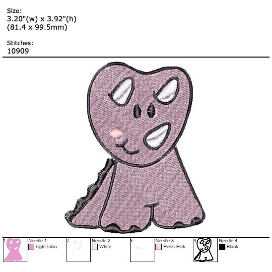 Dino custom embroidery design
