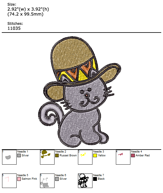 Kitty With Cap custom embroidery design