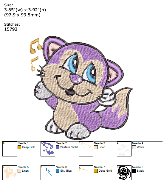 Kitten custom embroidery design
