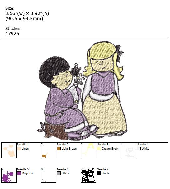 Boy & Girl custom embroidery design