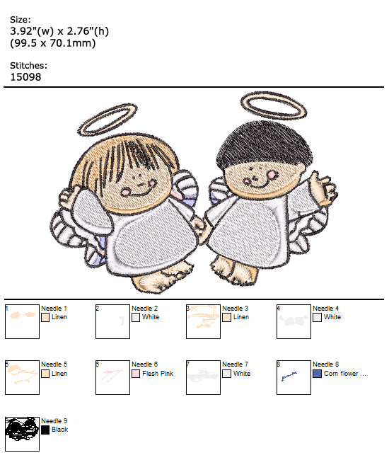 Angels custom embroidery design