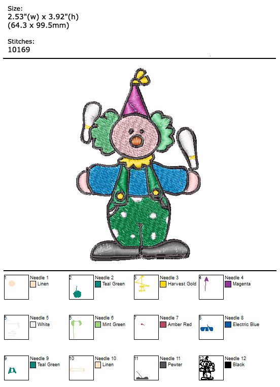 Clown custom embroidery design