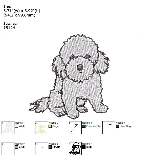 Dog custom embroidery design