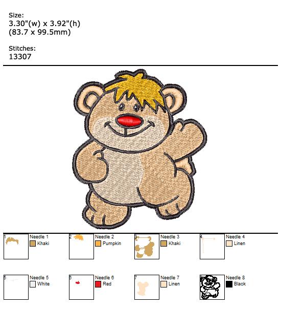 Bear custom embroidery design