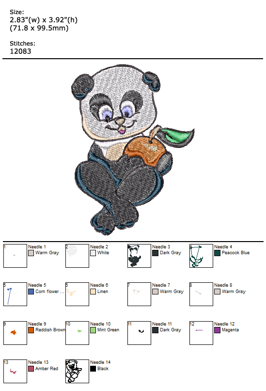 Panda custom embroidery design