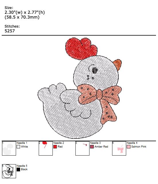 Chicken custom embroidery design