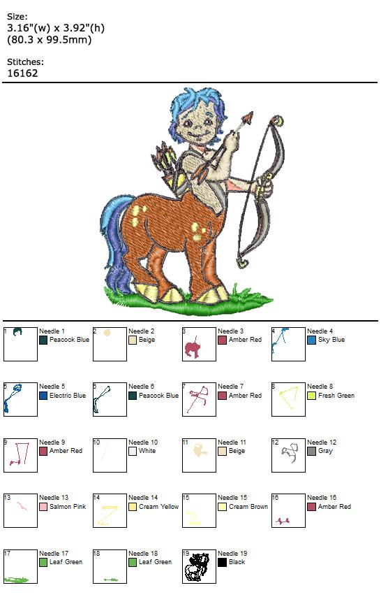 Centaur custom embroidery design