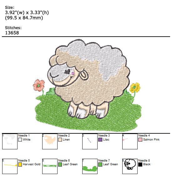 Sheep custom embroidery design