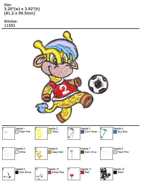 Soccer Giraffe custom embroidery design