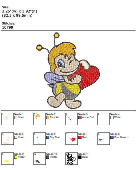 Bee in Love custom embroidery design