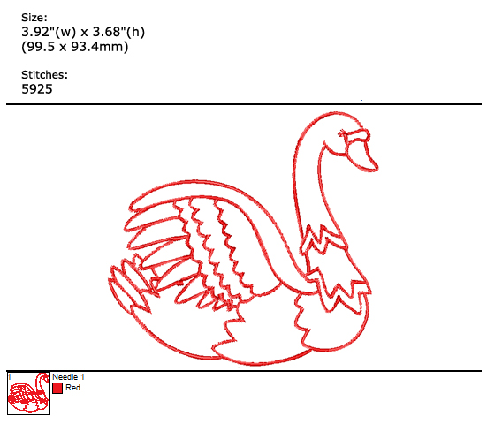 Redwork Swan custom embroidery design