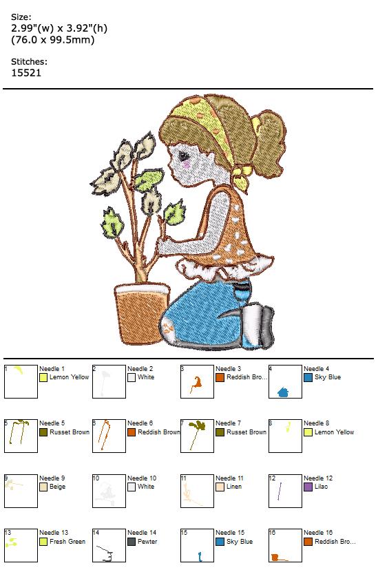 Gardening custom embroidery design