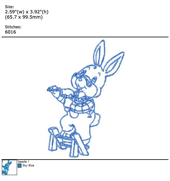 Bunny custom embroidery design