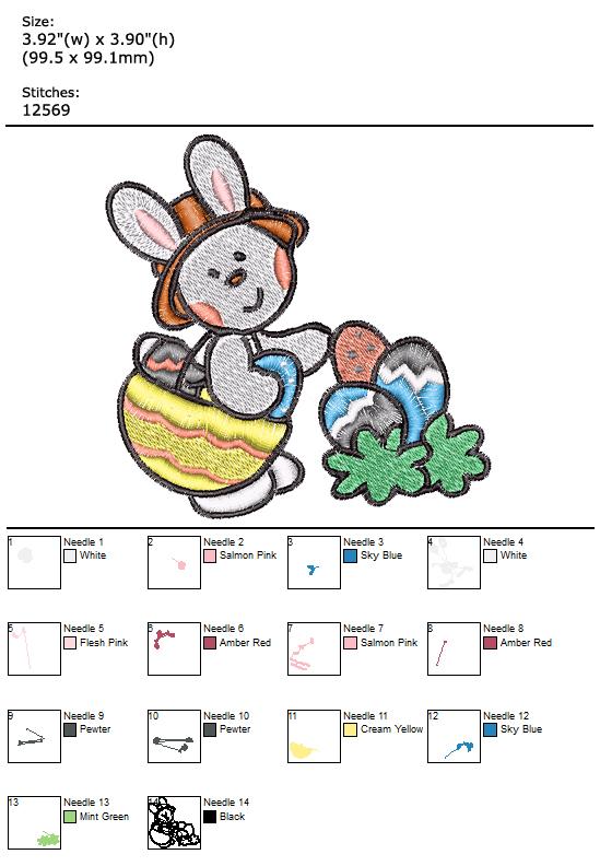 Easter Bunny custom embroidery design