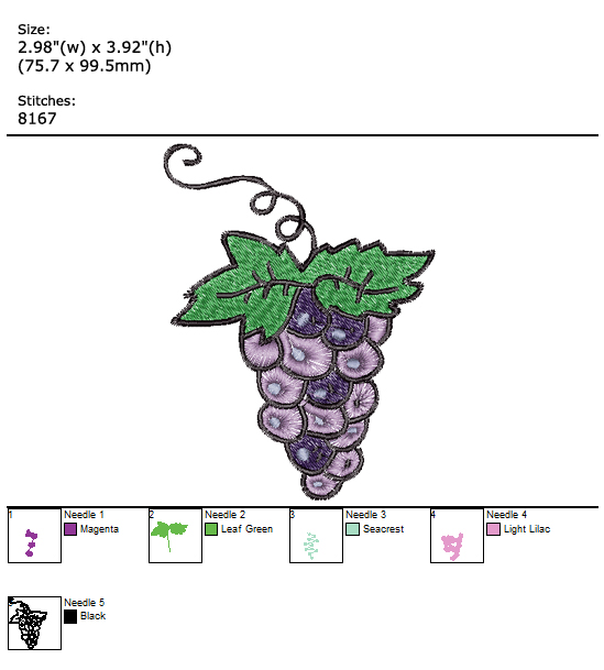 Grapes custom embroidery design