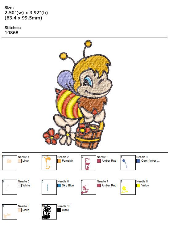 Bee custom embroidery design
