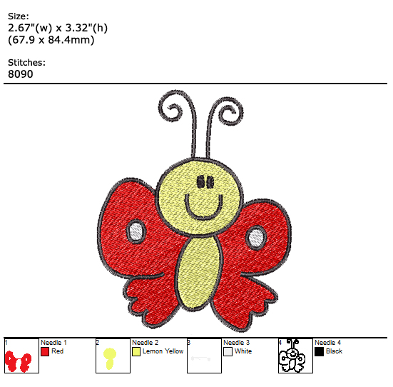 Little Butterfly custom embroidery design